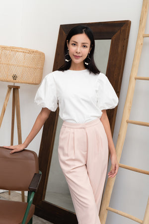 Delina Puff Sleeve Top In White