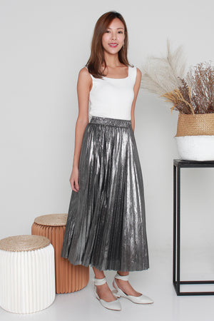 Shareen Pleated Skirt In Silver