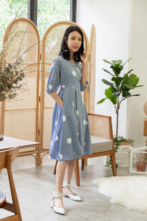 *TSA Label* Marnie Front Wrap Polkadot Midi Dress In Powder Blue