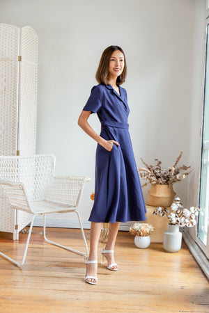 Zaara Buckle Wrap Dress In Navy