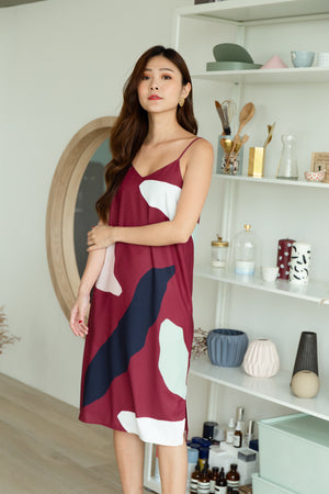 *TSA Label* Sander Pebbles Slip Dress In Wine