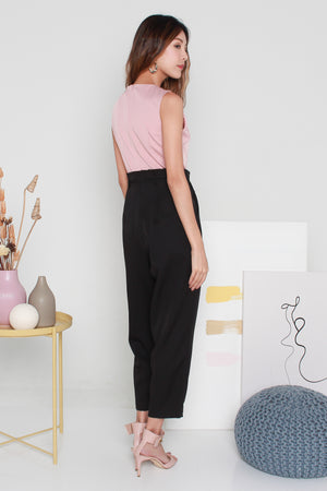 *TSA Label* Novita Paperbag Jumpsuit In Pink Black