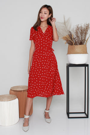 *TSA Label* Merrill Hearts Faux Wrap Dress In Red