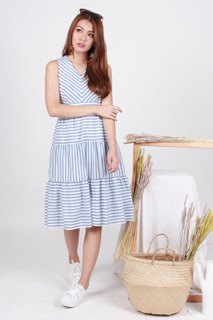 *RESTOCK* Ciara Striped Tier Midi In Blue
