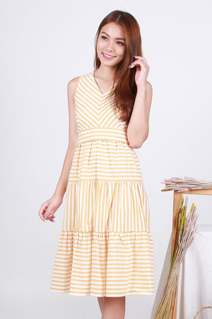 Ciara Striped Tier Midi In Yellow