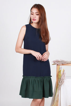 Tamia Frill Dropwaist Dress In Navy/Green