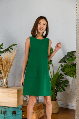 *RESTOCK* Audelia Stitches Shift Dress In Kelly Green
