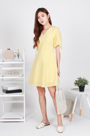 Hadley Gingham Skater Dress In Yellow