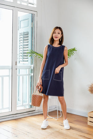 *BACKORDER* Audelia Stitches Shift Dress In Navy
