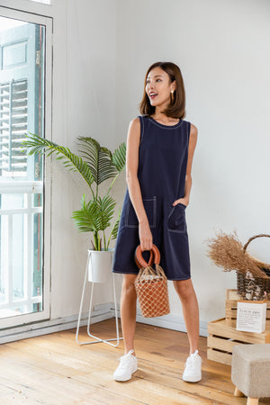 *RESTOCK* Audelia Stitches Shift Dress In Navy