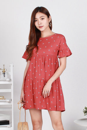 Pollen Palmy Flutter Sleeve Dress In Terracotta