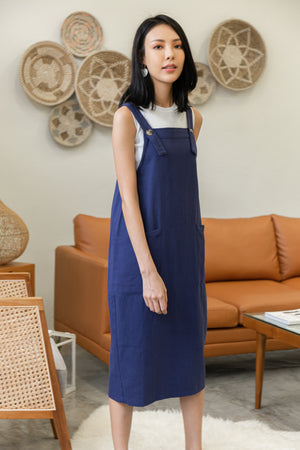 *BACKORDER* Brandi Dungaree Midi Dress In Navy