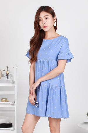 Pollen Palmy Flutter Sleeve Dress In Blue