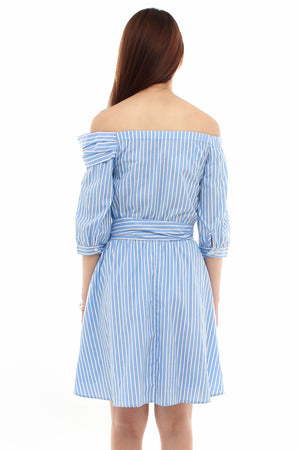 Layla Striped Off Shoulder Dress In Sky