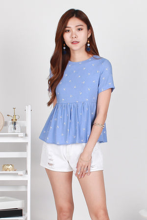 *TSA Label* Perrier Palmy Babydoll Top In Blue