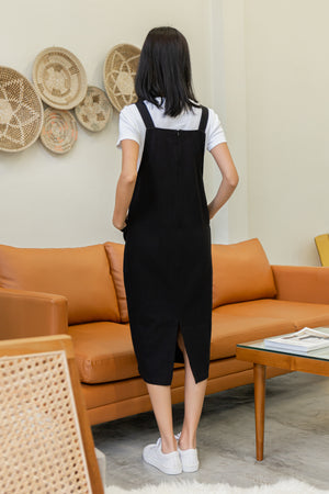 *BACKORDER* Brandi Dungaree Midi Dress In Black