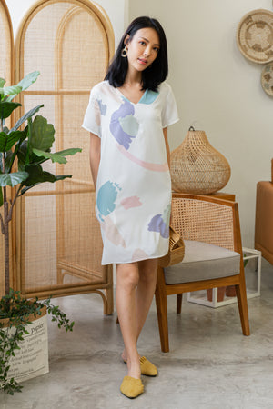 Odessa Paint Abstract Dress In White