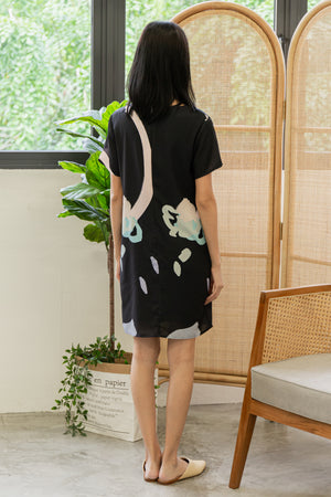 Odessa Paint Abstract Dress In Black