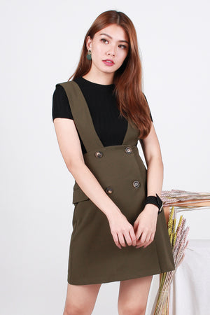 *Premium* Zanthe Button Pinafore Dress In Olive