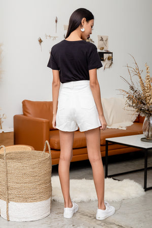 Bruno Frayed Denim Shorts In White