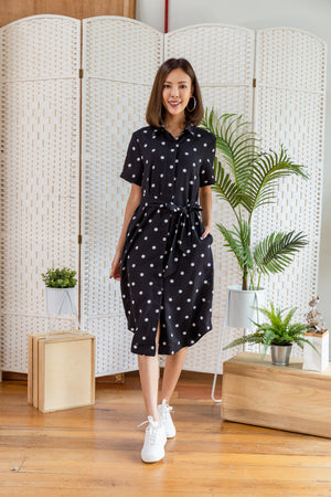 *BACKORDER* Lowee Dots Utility Shirt Dress In Black