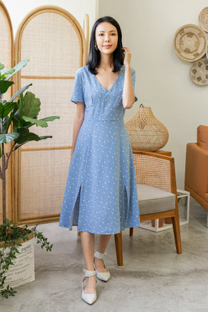 *TSA Label* Ensley Floral Midi Dress In Cornflower Blue