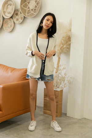 Claire Knit Cardigan In White