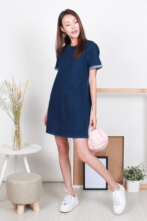 *BACKORDER II* Sonia Denim Tee Dress In Dark Wash