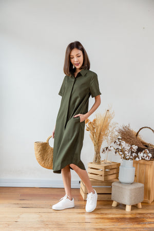 *RESTOCK* Lowee Utility Shirt Dress In Olive