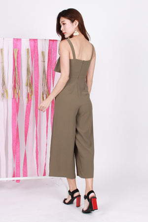 Natasha Layered Jumpsuit In Olive