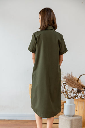 *BACKORDER* Lowee Utility Shirt Dress In Olive