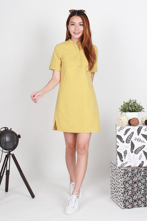 Canyon Utility Shirt Dress In Mustard