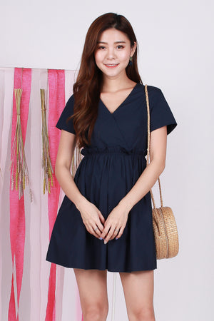 Claudine Paperbag Dress Romper In Navy