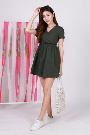 Claudine Paperbag Dress Romper In Olive