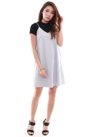 Anya Overlap Slip Dress In Grey