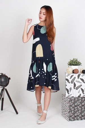 Deanne Abstract Dropwaist Dress In Navy