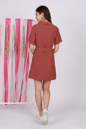 *Premium* Zelda Pocket Shirt Dress In Tea Rose