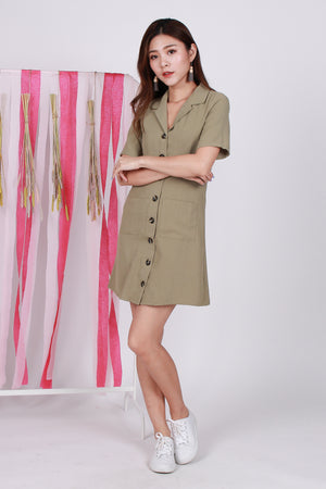 *Premium* Zelda Pocket Shirt Dress In Sage