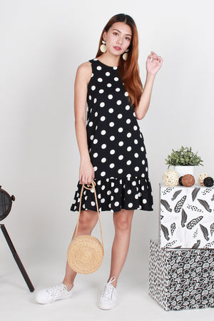 Raakel Polka Dropwaist Dress In Black