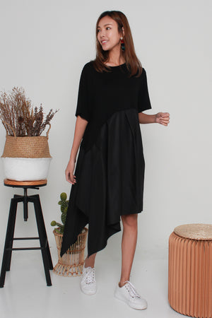 Toby Asymmetry Hem Dress In Black