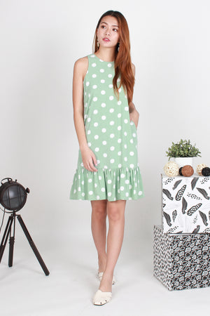 Raakel Polka Dropwaist Dress In Apple Green