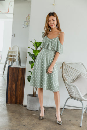 *TSA Label* Zinnia Polkadot Ruffled Dress In Mint Green