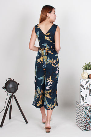 *TSA Label* Bellevue Floral Side Slit Jumpsuit In Navy