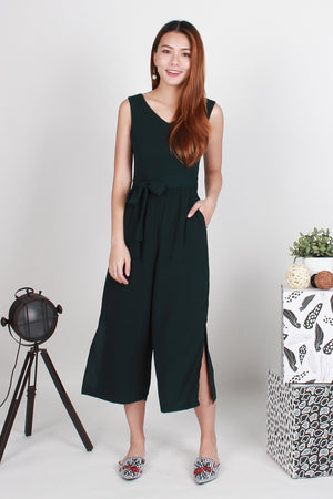 *TSA Label* Bellevue Side Slit Jumpsuit In Forest