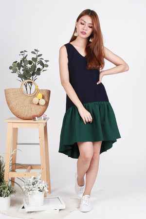 *TSA Label* Priven Colourblock Dress In Navy/Forest