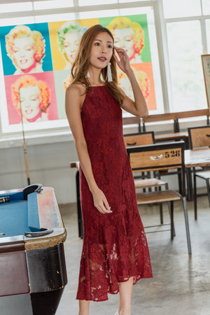 Laverna Lace Mermaid Dress In Wine
