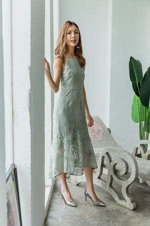 Laverna Lace Mermaid Dress In Sage