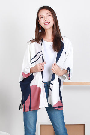 *BACKORDER* Brooklyn Abstract Kimono Top In White