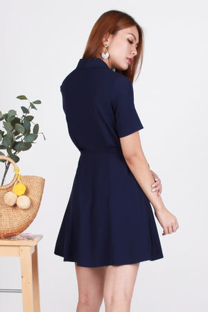 *TSA Label* Jaye Double-Breasted Button Dress In Navy