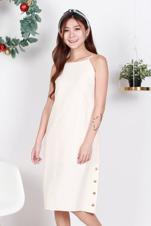 *TSA Label* Heather Side Button Midi Dress In Ecru